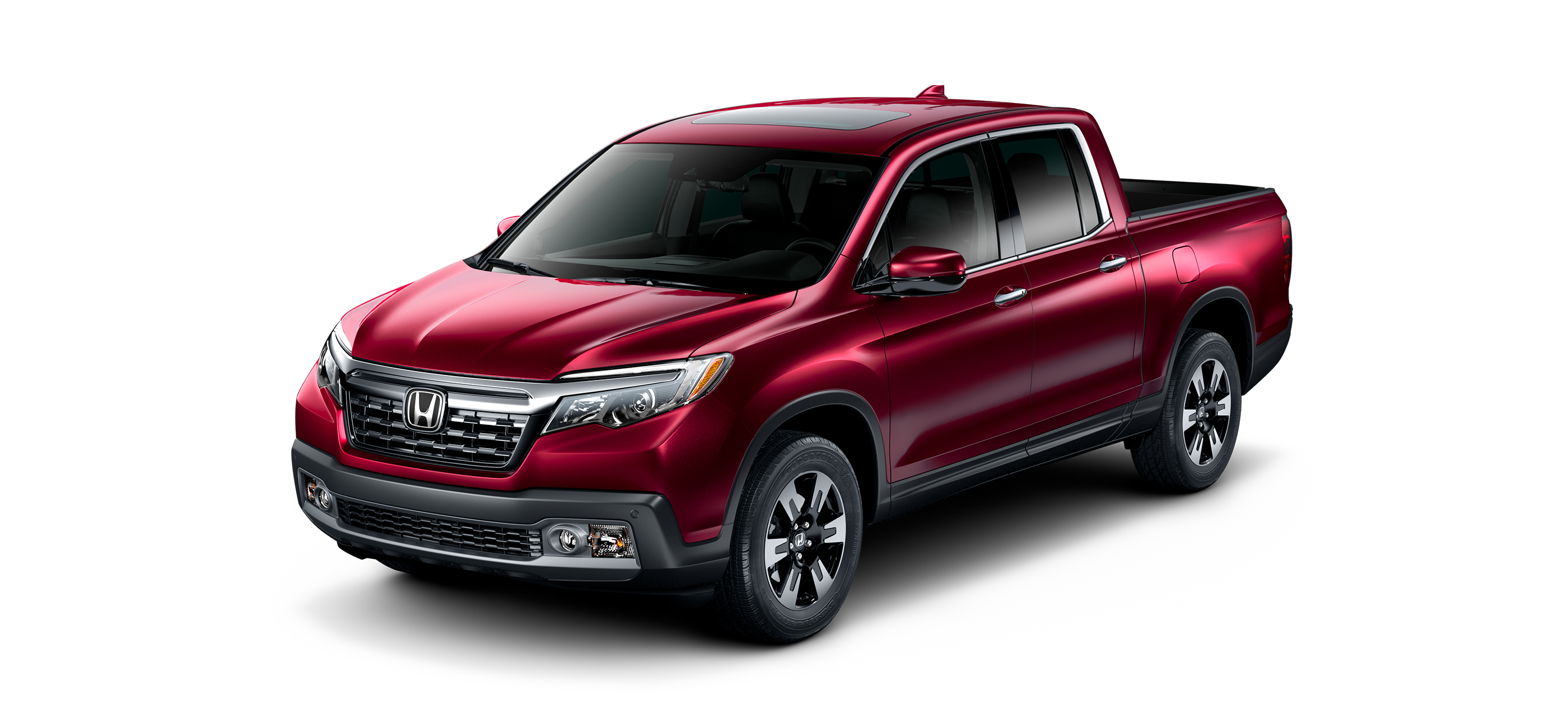 Front ¾ driver-side view of 2019 Honda Ridgeline RTL-E in Deep Scarlet Pearl.