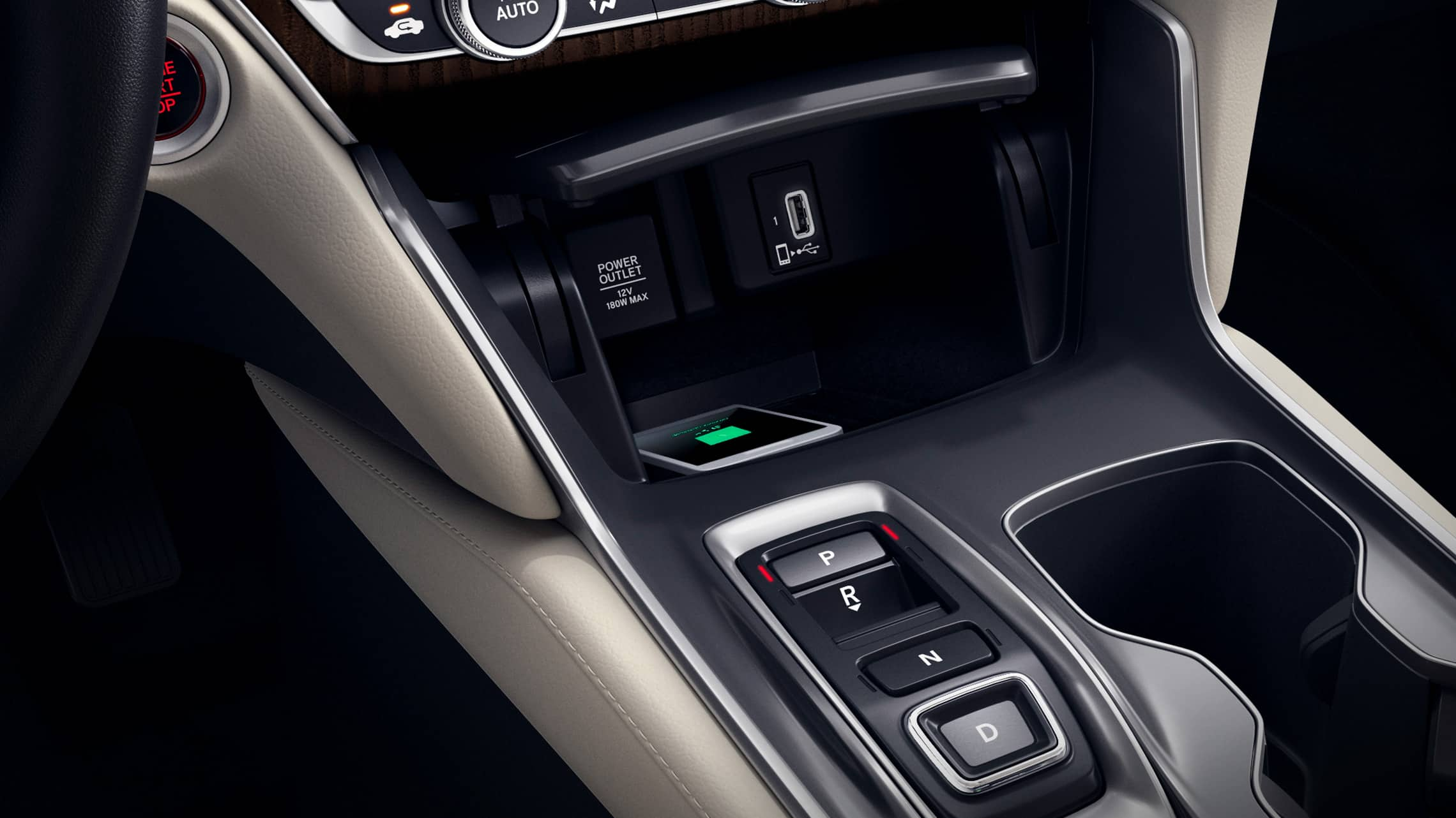 Wireless phone charger detail in the 2020 Honda Accord Touring 2.0T with Ivory Leather.
