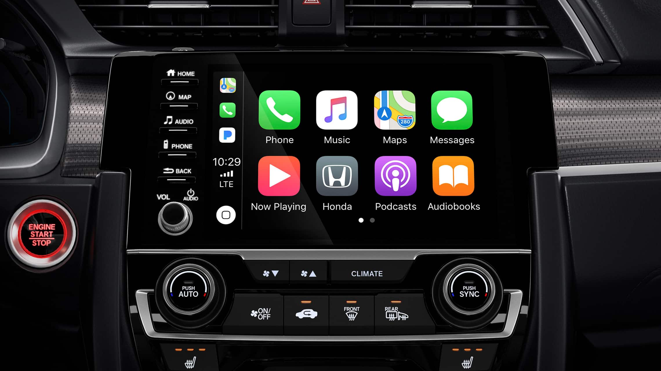 Apple CarPlay® integration detail on Display Audio touchscreen in the 2020 Honda Civic Coupe.