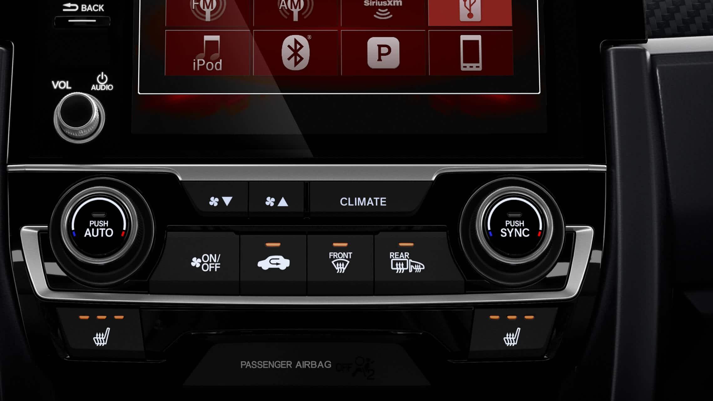 Detalle del control de los asientos delanteros calefaccionados en el Honda Civic Si Sedán2020.