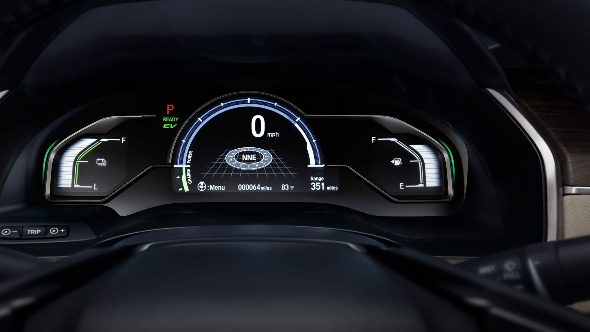 Detalle de la interfaz digital de información para el conductor en el Clarity Plug-In Hybrid2020.