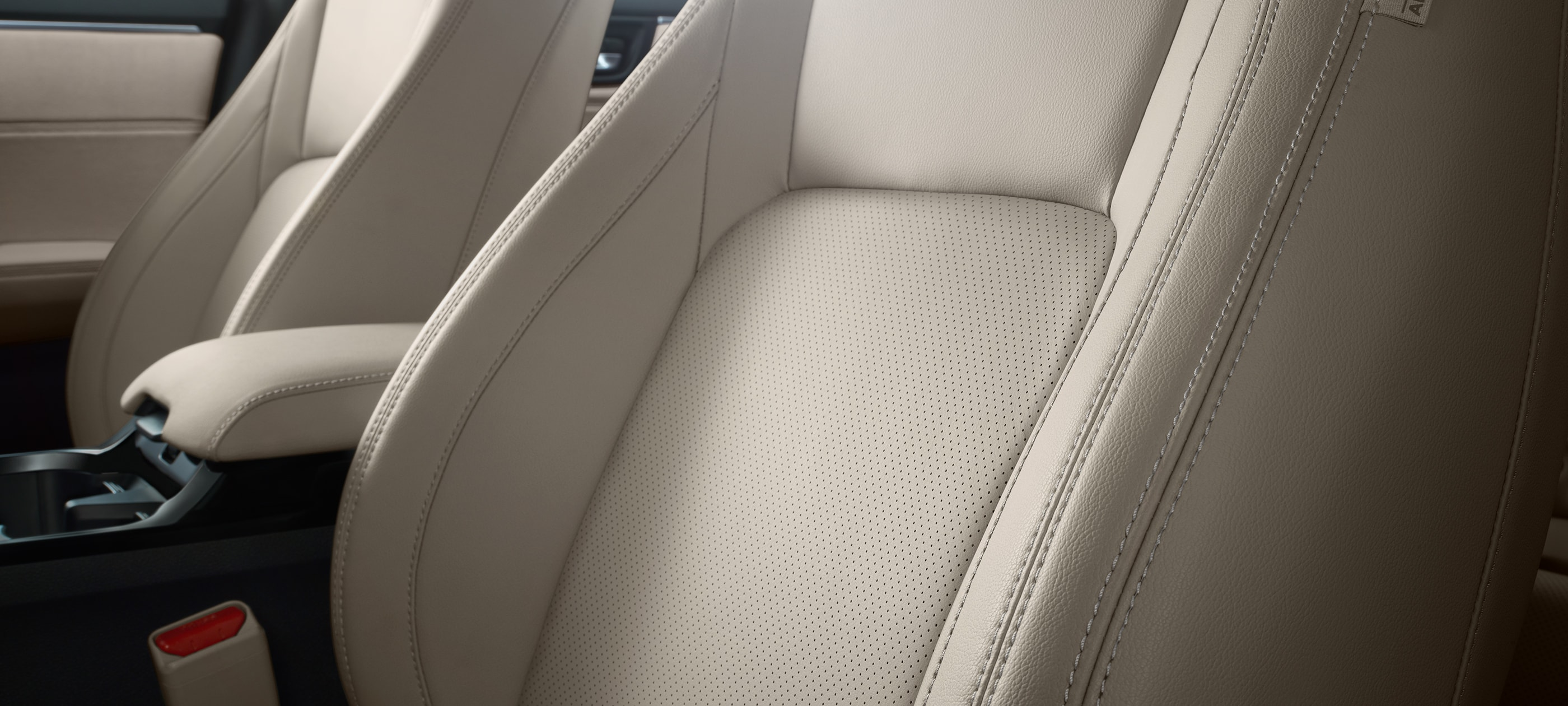 Interior beige leather seat detail in 2020 Honda Clarity PHEV.