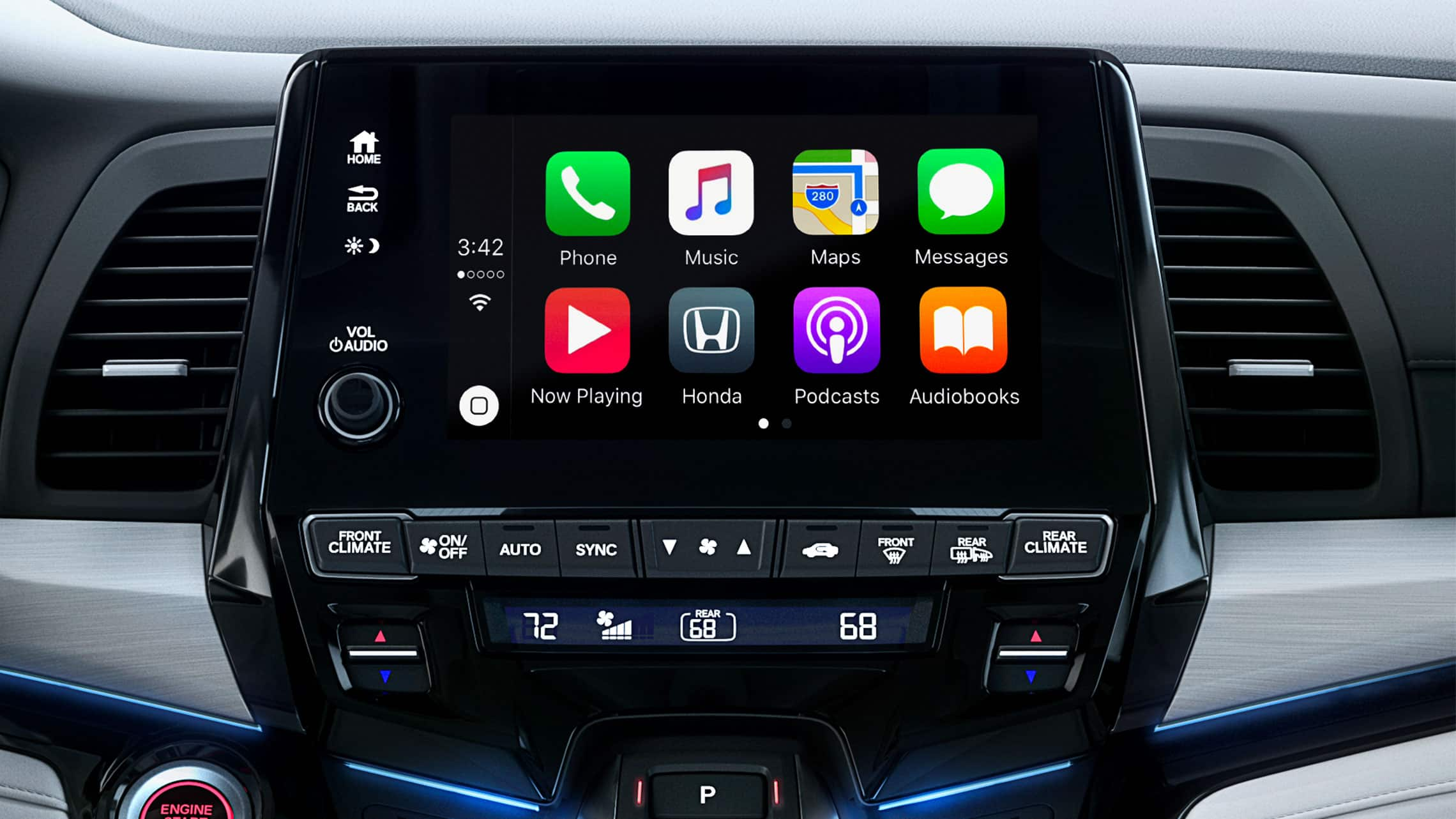 Detalle de Apple CarPlay® en el sistema de audio en pantalla táctil de la Honda Odyssey Elite 2020 con Gray Leather.