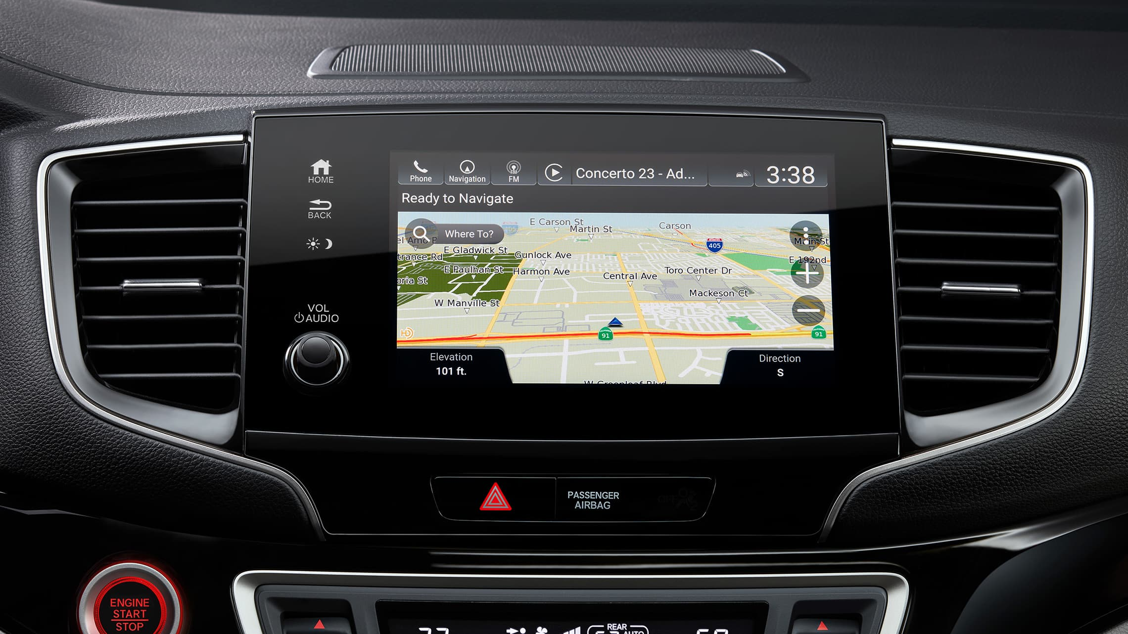 Honda Satellite-Linked Navigation System™ home screen detail on Display Audio touch-screen in 2020 Honda Pilot Elite.