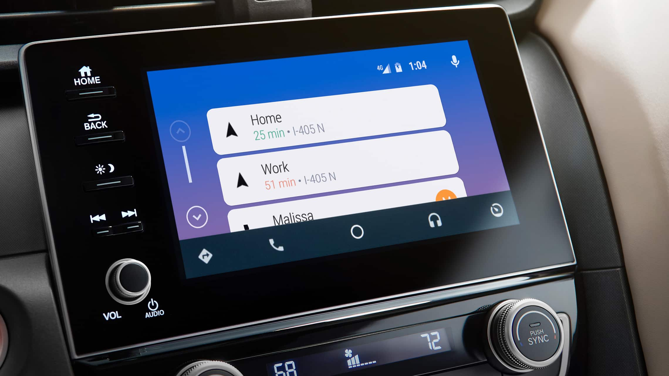 Android Auto™ map screen detail on the Display Audio touch-screen in the 2021 Honda Insight.